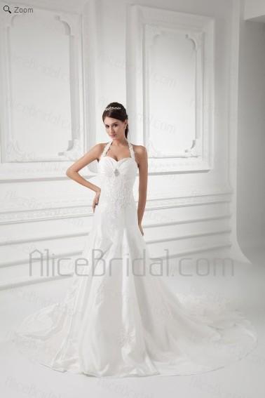 Taffeta Sweetheart A-line Sweep Train Embroidered Wedding Dress