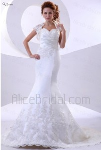 Lace Satin Sweetheart Court Train Mermaid Wedding Dress with Embroidered