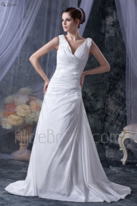 Satin V-Neckline Court Train A-Line Wedding Dress with Ruffle